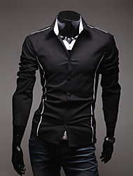 LangTuo Slim Edge Piping Causal Long Sleeve Shirt(Black)