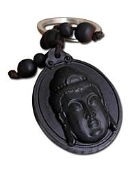 Duo Ji Mi ® 9CM Guanyin Head Ebony Woodcarvings Key Chains