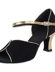 Pelle Scarpe Donna Mostra Arch Strap tacco grosso Rumba tacco alto Dancing Shoes Heel 6CM (schermo a colori)