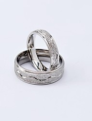 Fashion Silver Ripple Titanium Steel Couple Rings