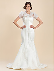 Wedding  Wraps Coats/Jackets Short Sleeve Organza As Picture Shown Wedding / Party/Evening Puff Sleeves Lace-up