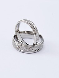 Fashion Silver High Quality Scrub Titanium Steel Couple Rings