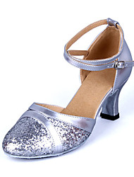 Shoes Show Women's Leather Arch Strap Chunky Heel Paillette Dancing Shoes Heel 6CM(Silvery)