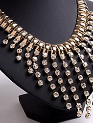 Women's Tassel Collarbone Brief Paragraph Fake Collar Necklace diamond Precious Stones