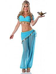 Costume d'Halloween charmante princesse Jasmine Bleu Polyester Femmes