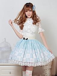 Saia Doce Princesa Cosplay Vestidos Lolita Azul Rendas Lolita Comprimento Médio Saia Para Feminino Poliéster