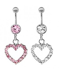 Lureme®316L Surgical Titanium Steel Crystal Loving Heart Pendant Navel Ring(Random Color)