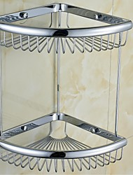 Contemporary Brass Chrome Double Layer Wall-mounted Basket Holder Shelf  Bathroom Accessories