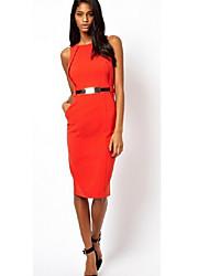 Michaela European Slim Pencil Dress(Black,Orange)-1253