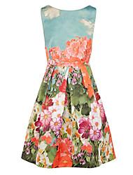 Robe Aux femmes Trapèze / Patineuse Vintage , Fleur Col Arrondi Mi-long Polyester
