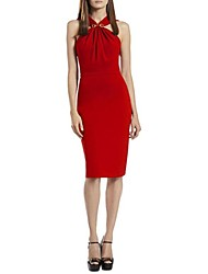 Women's Solid Red Dress , Sexy/Bodycon/Casual/Party/Work Halter Sleeveless Criss-Cross
