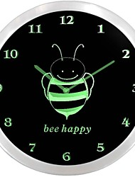 nc0711 Bee Children Room Neon Sign LED Wall Clock