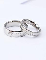 Mode d'anneaux d'argent en forme de coeur d'un couple de haute qualité
