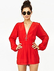 Bad Girls Street Casual Long-Sleeved Chiffon High Waist Deep V-neck piece Jumpsuits Coveralls8089