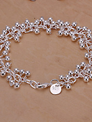 Fresh Soft Women's Light Grapes Silver Plated Brass Chain & Link Bracelet(Silver)(1Pc)