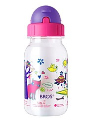 Bros™ Transparent Kid's Plastic Milk Water Straw Bottle 350ml