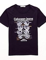 T-shirt de impressão em torno do pescoço de manga curta dos homens Celucasn T-shirt de algodão