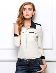 Ladies 'Fashion Long Sleeve Black-white shirt Contrast Colore Tops