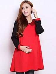 Peter Pan Collar Korean Long Maternity Top or Pregnant Women Patchwork Dresses Fall