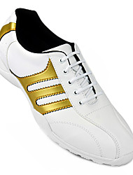 Men's White+Gold Sneakers Breathable Golf Spike Shoes