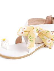 Frauen Flache Heel Sandaletten mit Zehenring Bowknot Schuhe
