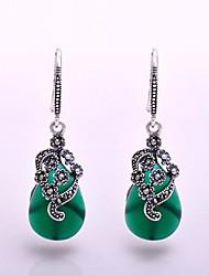 AS 925 Silver Jewelry    Graceful Green Agate Earrings