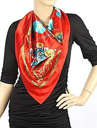 Frauen-Weinlese-Frauen Printed Satin Silk quadratischer Schal-Schal