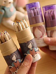 Cartoon Girl Pattern 12 Color Painting Pencil(12 PCS/Set)