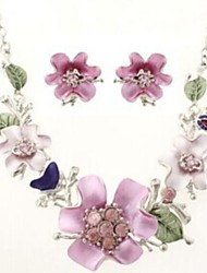 Flower Shape Silver Alloy (Necklaces&Earrings&) Gemstone Jewelry Sets(Multicolor)
