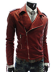 LangTuo Multiple Zippers Slim Petal Short Type Leather Coat (Red)