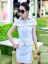 luto neue koreanische Stile Mode Spitzen passenden slim fit kurzen Ärmeln Denim-Rock