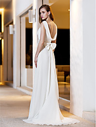 Lanting Bride® A-line Petite / Plus Sizes Wedding Dress - Elegant & Luxurious Simply Sublime Sweep / Brush Train Square Satin / Georgette