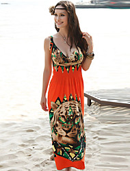 Women's Dresses , Cotton Blend/Polyester Beach/Casual/Cute Sleeveless FYR
