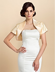 Personalized Short Sleeve Satin Wedding/Party Jackets/Wraps With Rhinestones(More Colors)