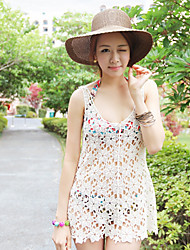 Women's White Sweet Flowers Hollow Out Sexy Beach Knitting Blouses