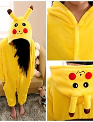 Kigurumi Pajamas Pika Pika Leotard/Onesie Festival/Holiday Animal Sleepwear Halloween Yellow Solid Flannel Kigurumi For KidHalloween