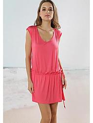 Botão à moda sexy nua Voltar metal Pérola das Mulheres Sólidos V profundo Beach Dress