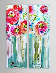 Hand Painted Oil Painting Floral  Red Flowers with Stretched Frame Set of 2