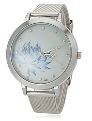 Women's Flower Pattern Steel Band Quartz Wrist Watch Cool Watches Unique Watches