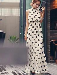 kvinnors polka dot vit klänning, party / maxi stå krage båge tillbaka ärmlös