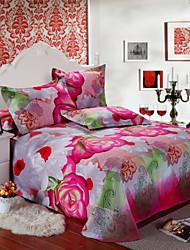 Copripiumino ,4-Piece rosa e bianco fiori Full Size
