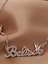 Fashion Jewelry  Short Gold Plated  English Trust Angel Set Auger Clavicle Necklace for Women