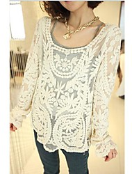 The One & Only Women's New Style Loose Fit Solid Color Cut Out Long Sleeve Shirt N6186015