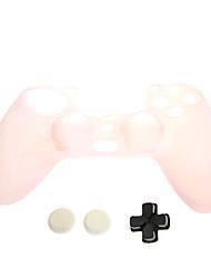 Peau PS4 Noctilucent de protection en silicone + D-pad + bouchon de silicone antidérapant Set