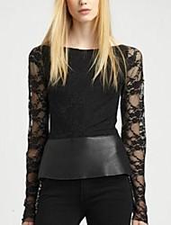 Women's Solid/Lace Black Blouse , Bateau Long Sleeve Lace