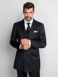Suits Standard Fit Peak Single Breasted Two-buttons Polyester 2 Pieces Dark Blue Straight Flapped None (Flat Front) BlackNone (Flat