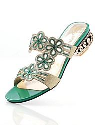 Women's Chunky Heel Open Toe Slippers with Rhinestone Shoes(More Colors)