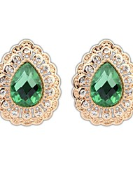 Women's European and America Elegant Exquisite Drops Cutout Alloy Rhinestone Stud Earrings (More Colors) (1 Pair)