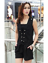 TS Casual Button Closure Sleeveless Jumpsuit