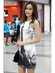 TS Print Sleeveless Sheath Dress